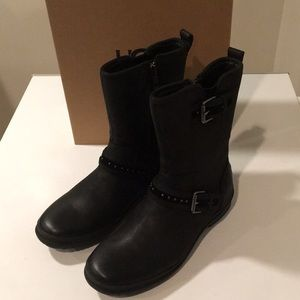 ❤️New Ugg Jenise Black Waterproof leather boots 💦